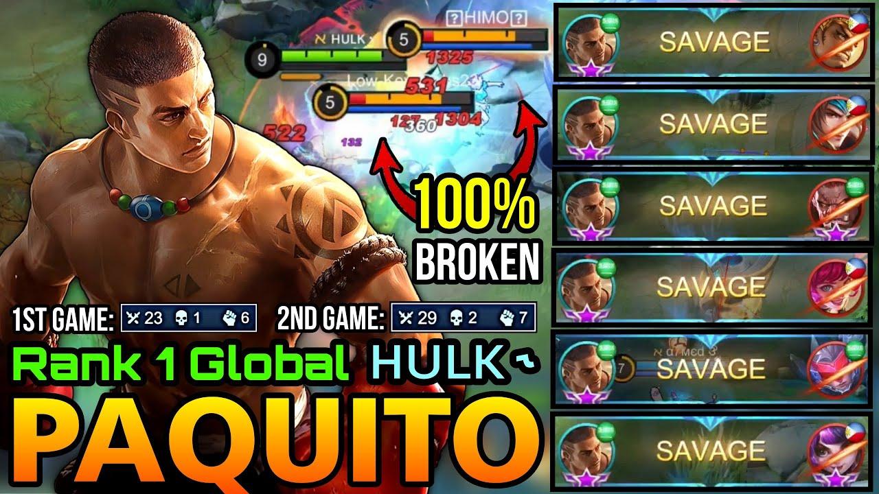 6x SAVAGE Machine!! Overpowered Paquito 100% Broken Hero!! - Top 1 Global Paquito by ʜᴜʟᴋ ˞ - MLBB