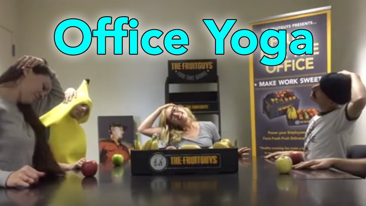 Fruit + Office + Yoga 15 Minute Desk Sequence - How to Open Your Shoulders  at Your Desk