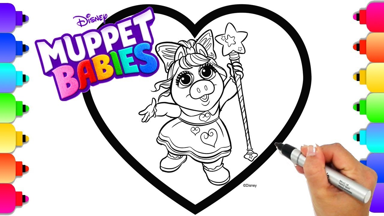 Disney Muppet Babies Miss Piggy Magic Wand Coloring Page