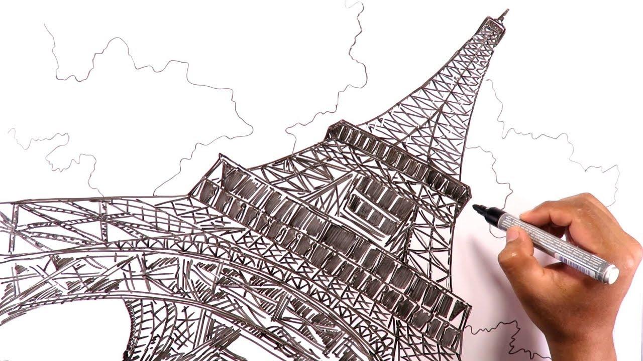 Dibuja La Torre Eiffel De París En Perspectiva Desde La Base Youtube