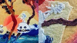"""Handmade """"Kids See Ghosts"""" Carved Rug 🔥"""