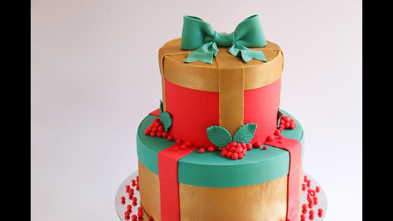 Christmas Cake Ideas Presents : Fondant Christmas Gift Cake Tutorial- Rosie s Dessert Spot ...
