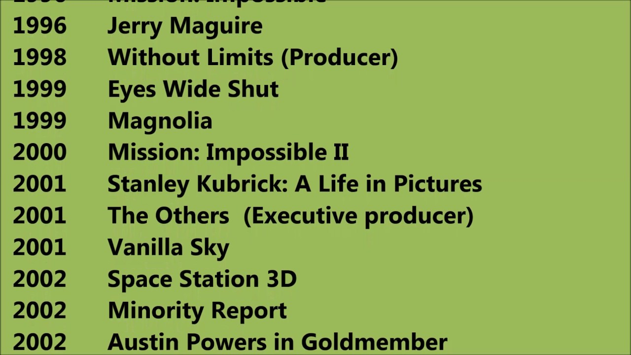Tom Cruise Movies List - YouTube