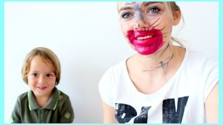 My Little Brother Does My Makeup!! (In Slovenian With Subtitles) ☾ Nika