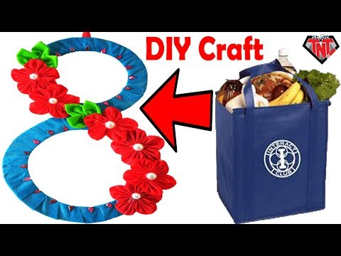 DIY Waste Recycle Craft Tote bag Wall Hanging | Shopping Bag Wallmate