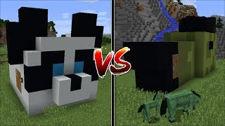 Minecraft PANDA HOUSE VS ZOMBIE HORSE HOUSE MOD / FIND OUT WHICH HOUSE IS THE BEST MOB !! Minecraft