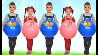 Rinat and Dominika play with funny balls