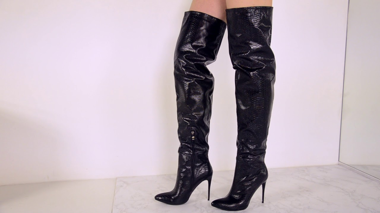 0bac9a7977b AKIRA CROC IT TO ME HEELED OVER THE KNEE BOOTS