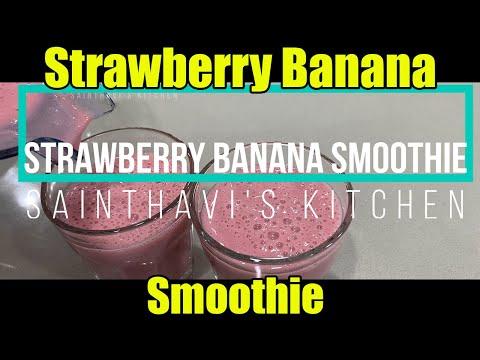 how-to-make-strawberry-banana-smoothie-in-1-min-|-sainthavi's-kitchen