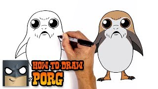 How to Draw Porg | Star Wars