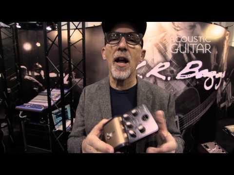 Maxwell Hughes (former guitarist of the Lumineers) Demos L.R. Baggs' Acoustic DI at NAMM