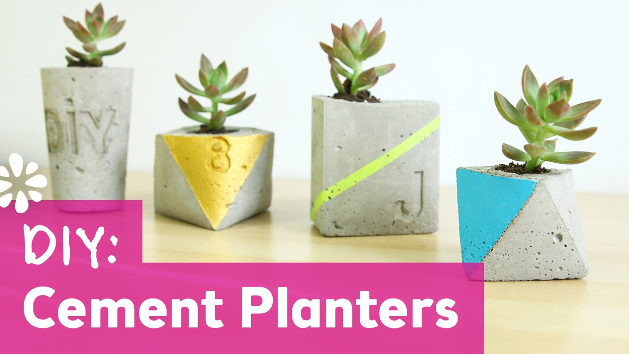 5 Things That Are Made Of Cement : Diy cement planters wedding sea lemon youtube