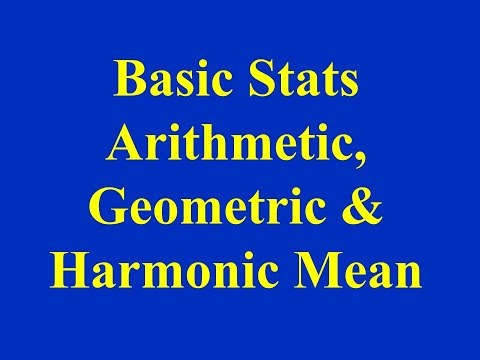 Basic Stats- Arithmetic, Geometric and Harmonic Mean