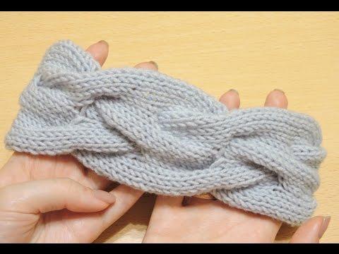 Cмотреть онлайн Объемная повязка на голову спицами. // Knitting headband