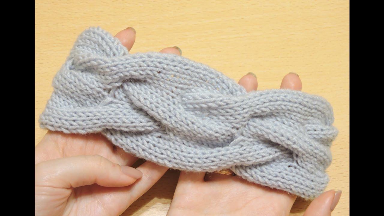 объемная повязка на голову спицами Knitting Headband Youtube