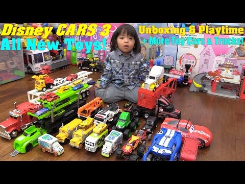 Thumbnail: Dsney CARS 3 Toys, Demolition Derby Crazy 8 Crashers! Car Carrier Trucks and Construction Trucks!