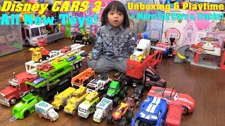 Disney CARS 3 Toys, Demolition Derby Crazy 8 Crashers! Car Carrier Trucks and Construction Trucks!