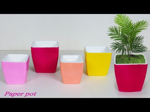 Handmade paper pot // Newspaper tree pot // Flower vase