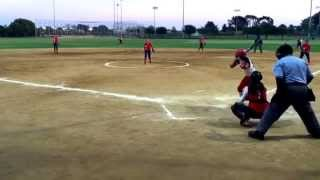 Great bunt by Corissa Sweet.  Bad call by umpire.  Firecrackers softball 03