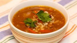 Любимые Рецепты.  Грузинский суп харчо.  С говядиной, рисом, красной фасолью и специями.