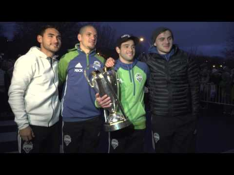 Seattle Sounders FC arrive at Boeing Field with MLS Cup