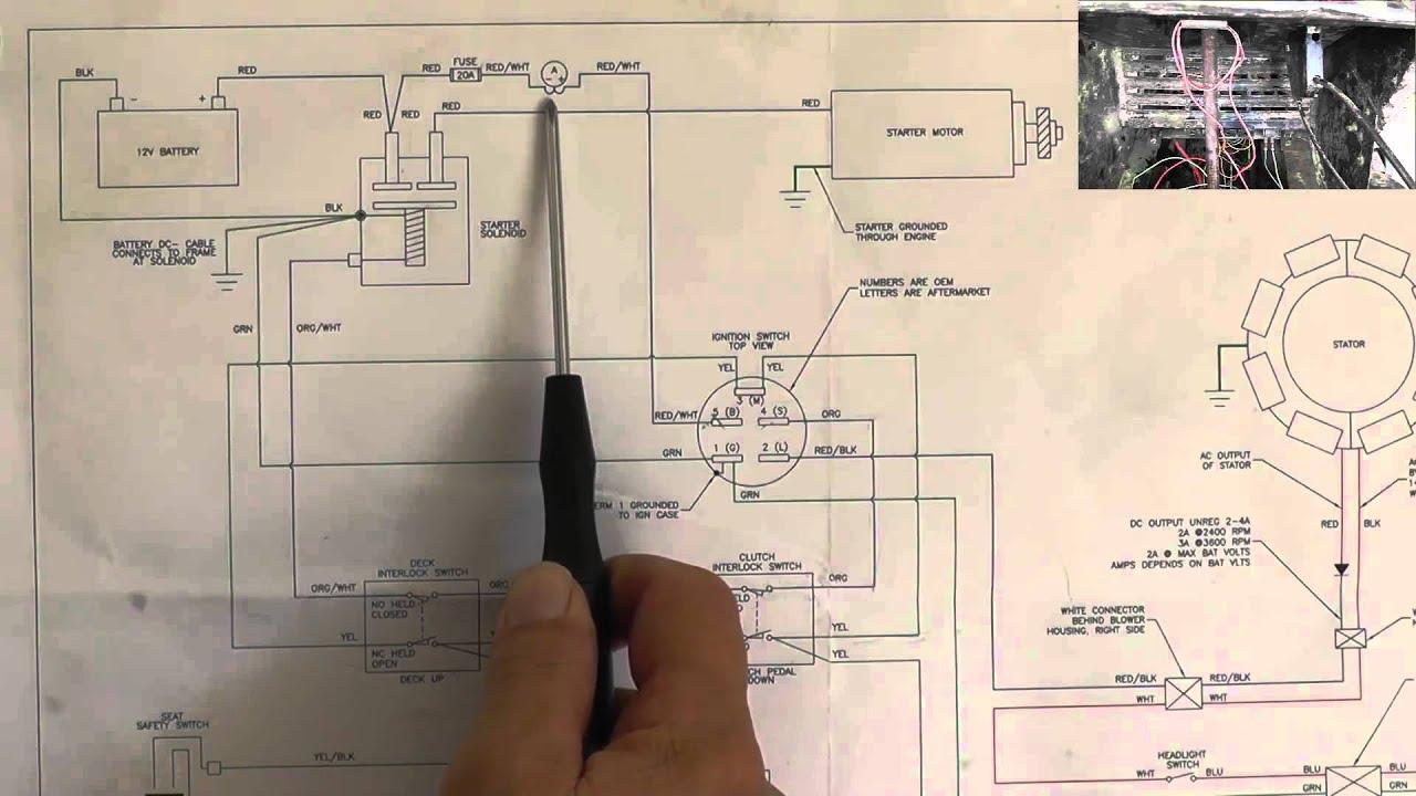 Riding Mower, Starting System Wiring Diagram  Part 1