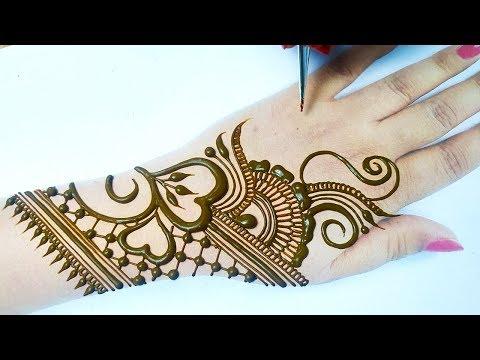 अरेबिक मेहँदी डिज़ाइन लगाना सीखे -Stylish Mehndi Design on Backhand Step by Step-Simple Arabic Mehndi