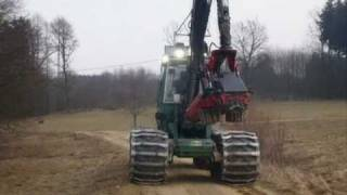 Driving behind a Harvester on a Forestry Road
