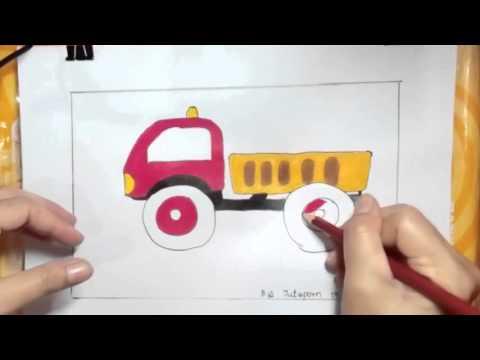 รถบรรทุก วาดภาพระบายสี,truck drawing