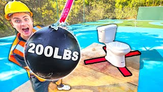 GIANT 200LBS WRECKING BALL VS TOILET!!