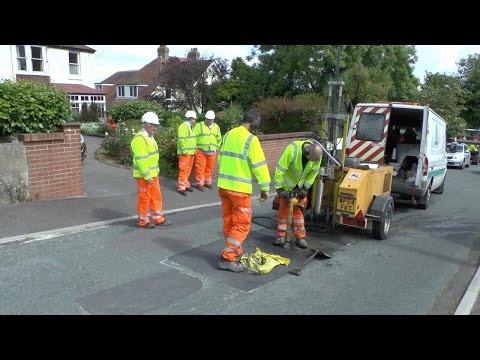 Devon County Council rd repair test in Townstal Pathfields Dartmouth U.K