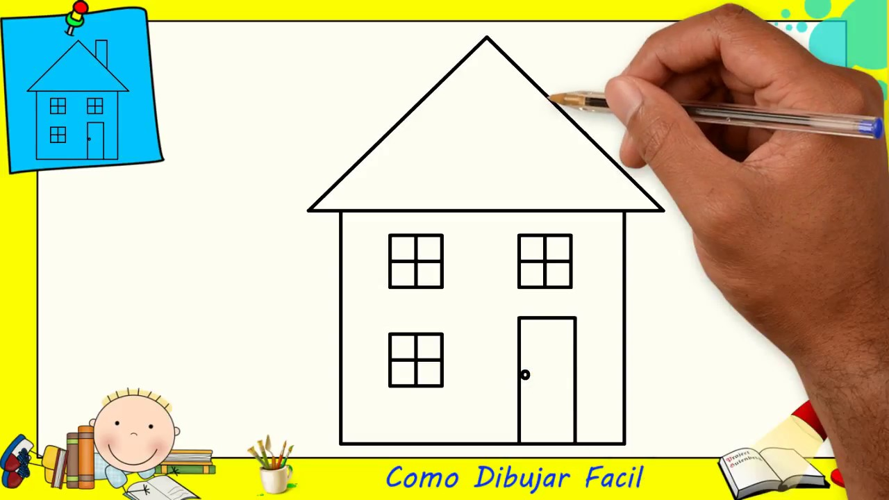 Como Dibujar Una Casa Facil Paso A Paso Para Niños Y Principiantes 5
