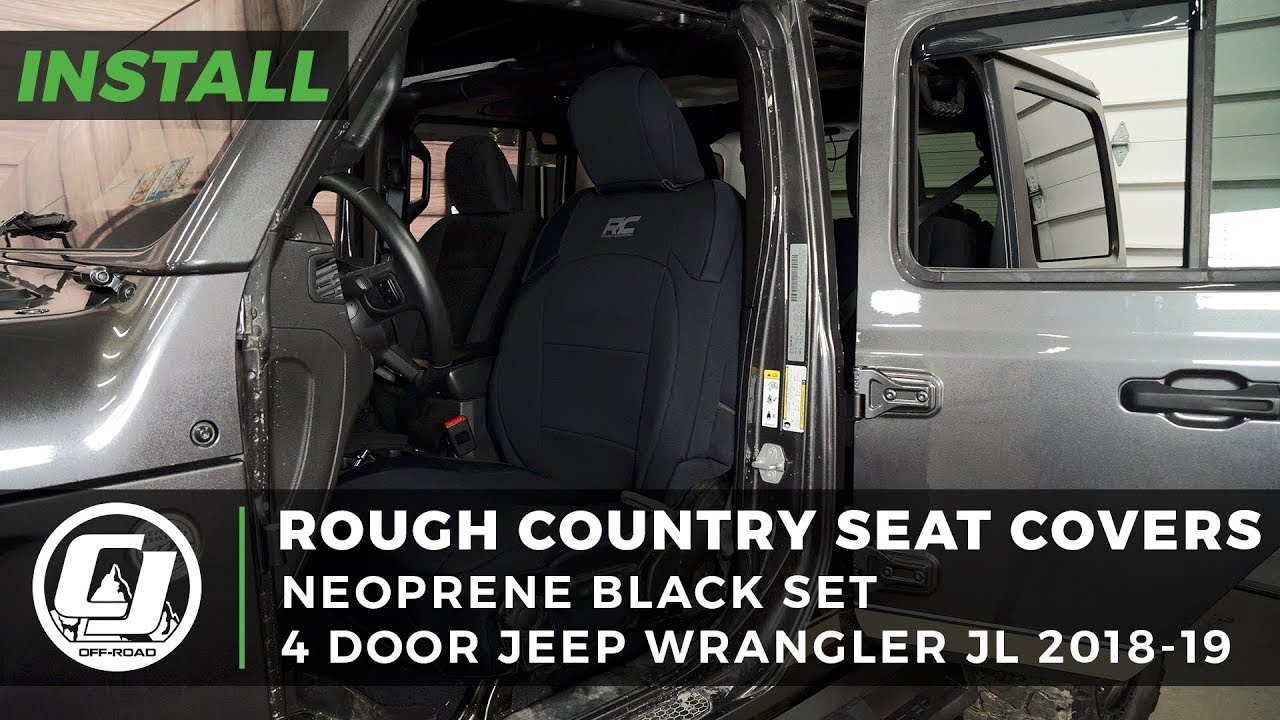Jeep JL Wrangler Install: Rough Country Black Neoprene Seat Covers