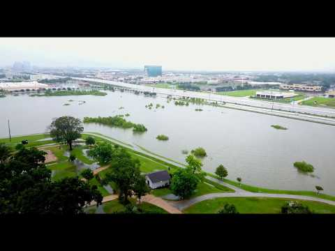 Drone Flyover of Arthur Storey Park in Houston, flooded by Hurricane Harvey