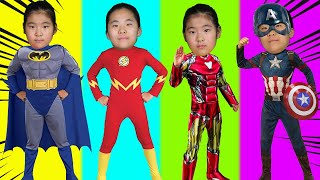 Wrong Superheroes Puzzle 리콩수콩 슈퍼히어로 아이언맨 베트맨 변신 가면 맞추기 놀이 캡틴 아메리카