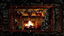 Christmas Fireplace Window Scene with Snow and Crackling Fire Sounds