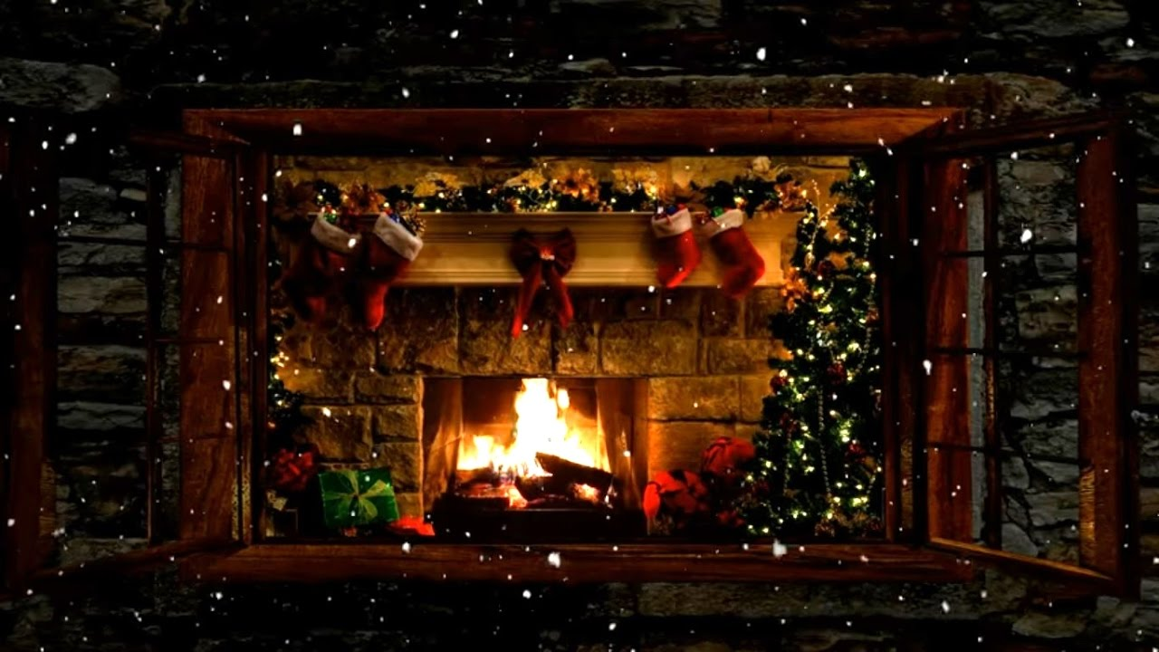 Christmas Fireplace Window Scene With Snow And Crackling Fire - Christmas cabin fireplace scenes