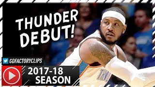 Carmelo Anthony Full PS Highlights vs Rockets (2017.10.03) - 19 Pts in 19 Min, Thunder Debut!