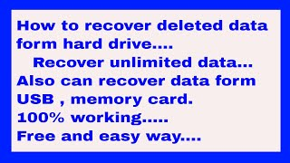 How to recover deleted data / recover unlimited data / 100 % free and easy