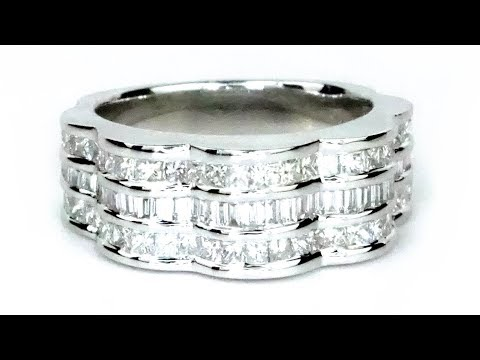 Certified White Diamond Statement Ring 18k White Gold 1.78 Tcw Natural Princess Baguette DIamonds