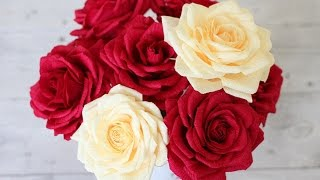 Repeat youtube video How to Make Paper Real Roses - Origami Rose Quick and Super Easy Way Tutorial