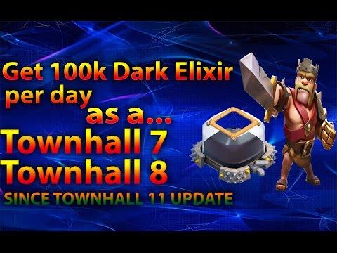 Clash Of Clans - Farm 100k Dark elixir per day as a TH7 TH8 OR TH9, Get Barbarian King FAST