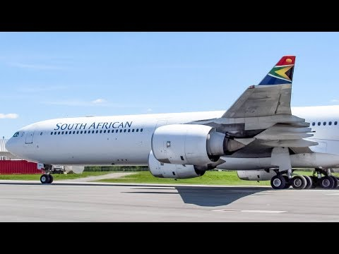 South African One (Presidential Flight) Airbus A340-600 (A346) departing Quebec City (YQB/ CYQB)