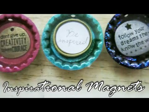 DIY Easy Bottle Cap Magnets From Epoxy Resin, Charms, Stickers, Inspirational Sayings