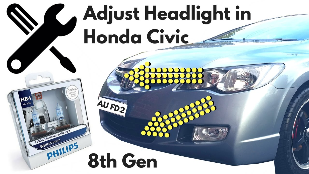 how to adjust headlight for honda civic youtube. Black Bedroom Furniture Sets. Home Design Ideas
