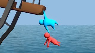 HANGING FROM A LEDGE! (Gang Beasts Funny Moments)