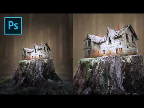 Photoshop Editing Surreal - Small Ghost House Photo Manipulation