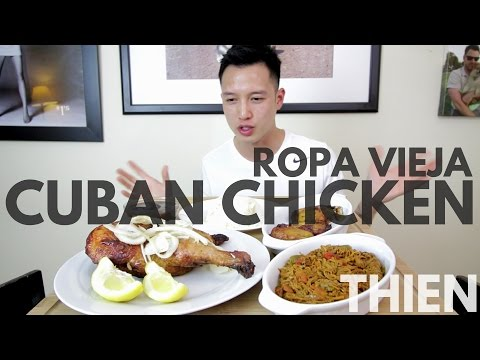 [mukbang with THIEN]: Cuban Chicken in Mojo Sauce, Ropa Vieja (Stewed Beef), and Fried Plantains