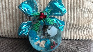 DIY: How to make blue Christmas ornament with little baby inside for your Christmas tree TUTORIAL