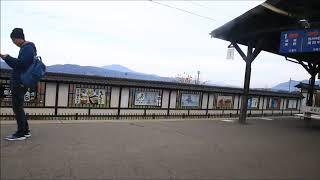 3500系O2編成臨時列車下り小布施駅通過(車窓)